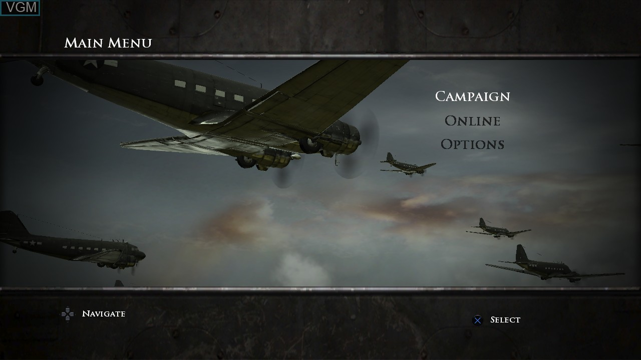 Menu screen of the game Medal of Honor - Airborne on Sony Playstation 3