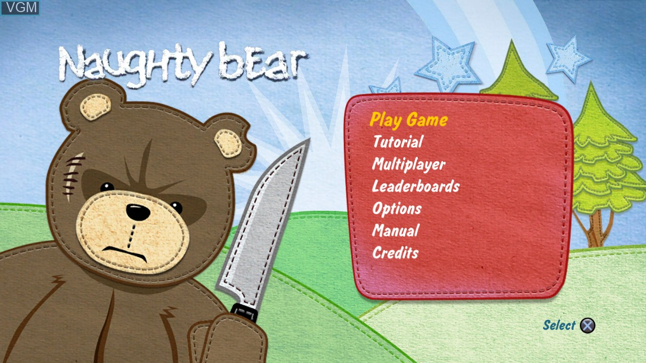 Menu screen of the game Naughty Bear on Sony Playstation 3