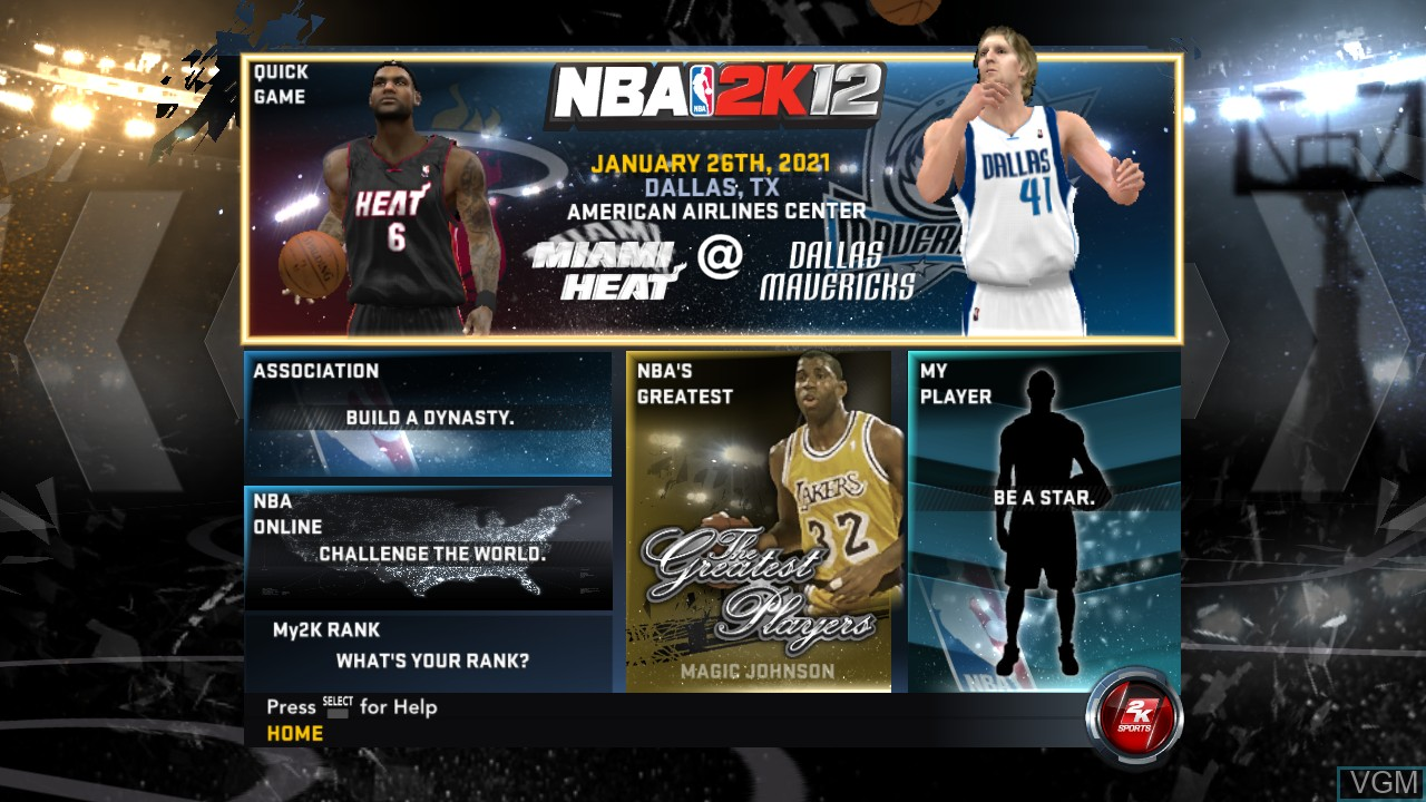Menu screen of the game NBA 2K12 on Sony Playstation 3