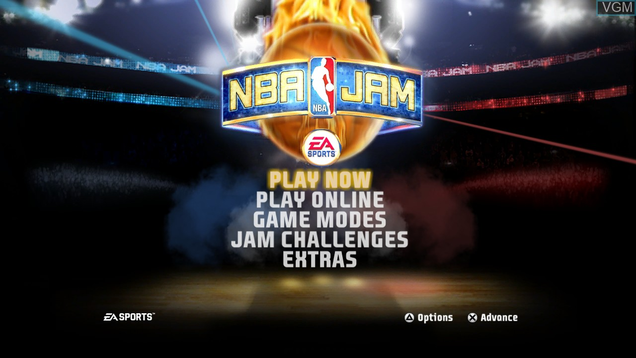 Menu screen of the game NBA Jam on Sony Playstation 3