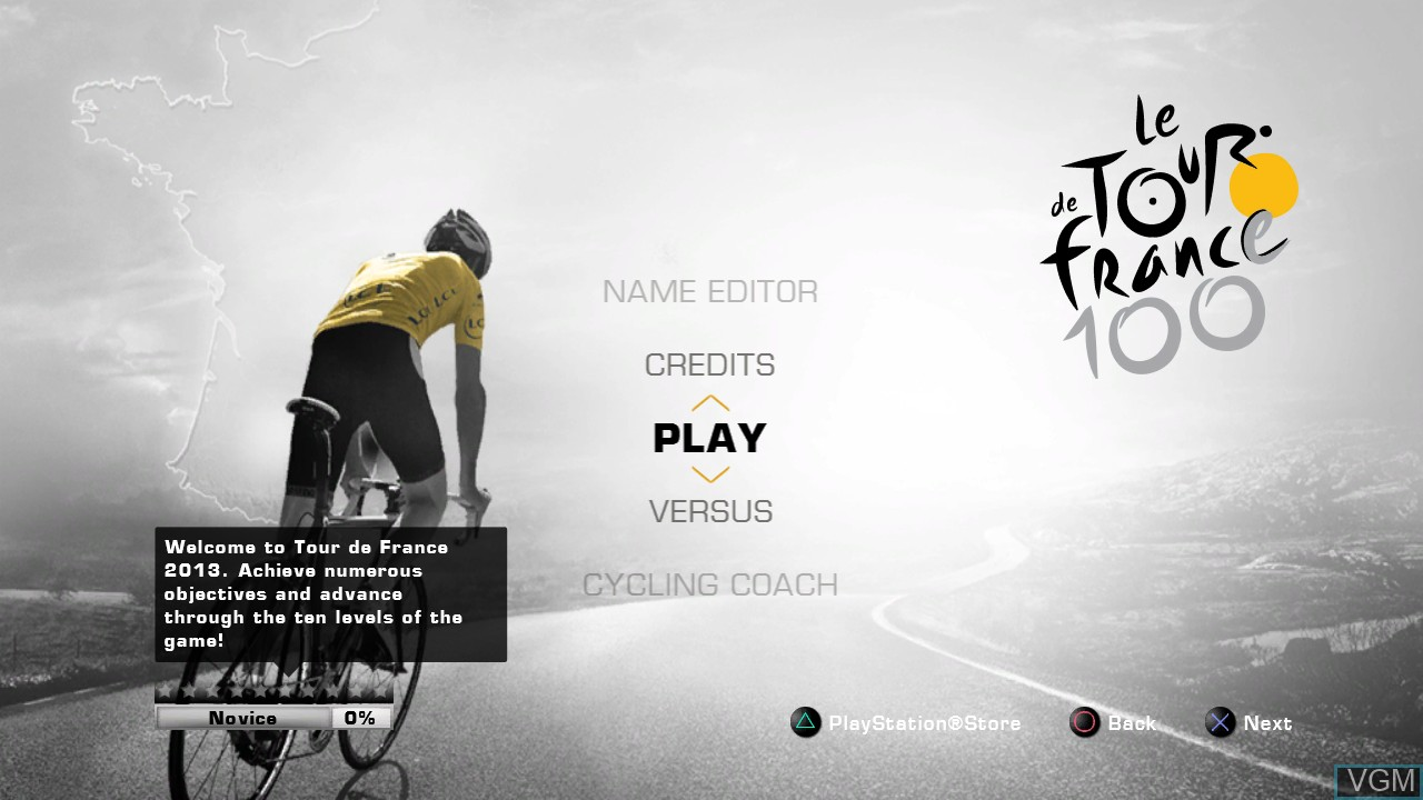 Menu screen of the game Tour de France 2013, Le - 100th Edition on Sony Playstation 3