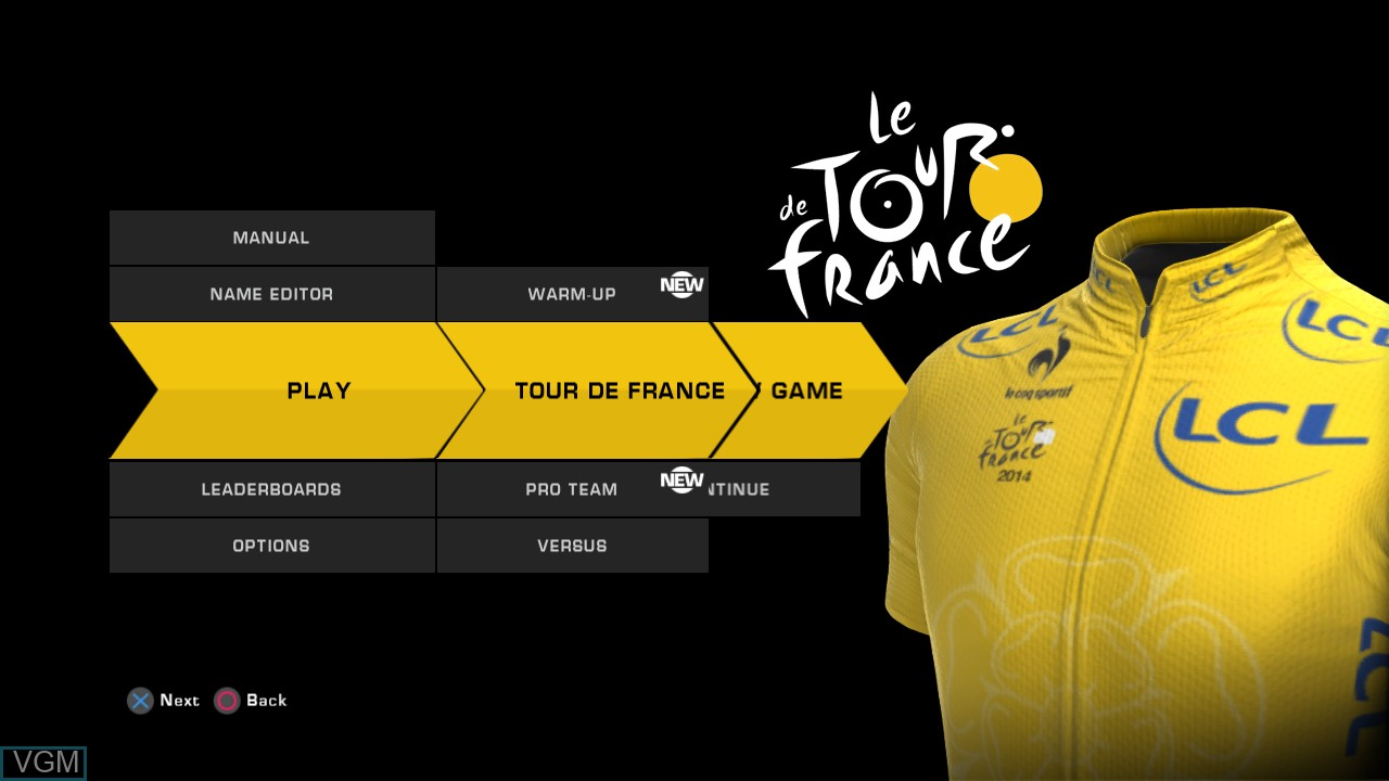 Menu screen of the game Tour de France 2014, Le on Sony Playstation 3