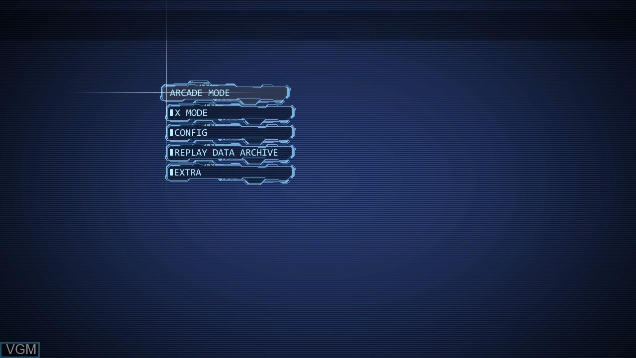 Menu screen of the game Ketsui - Kizuna Jigoku Tachi Extra on Sony Playstation 3