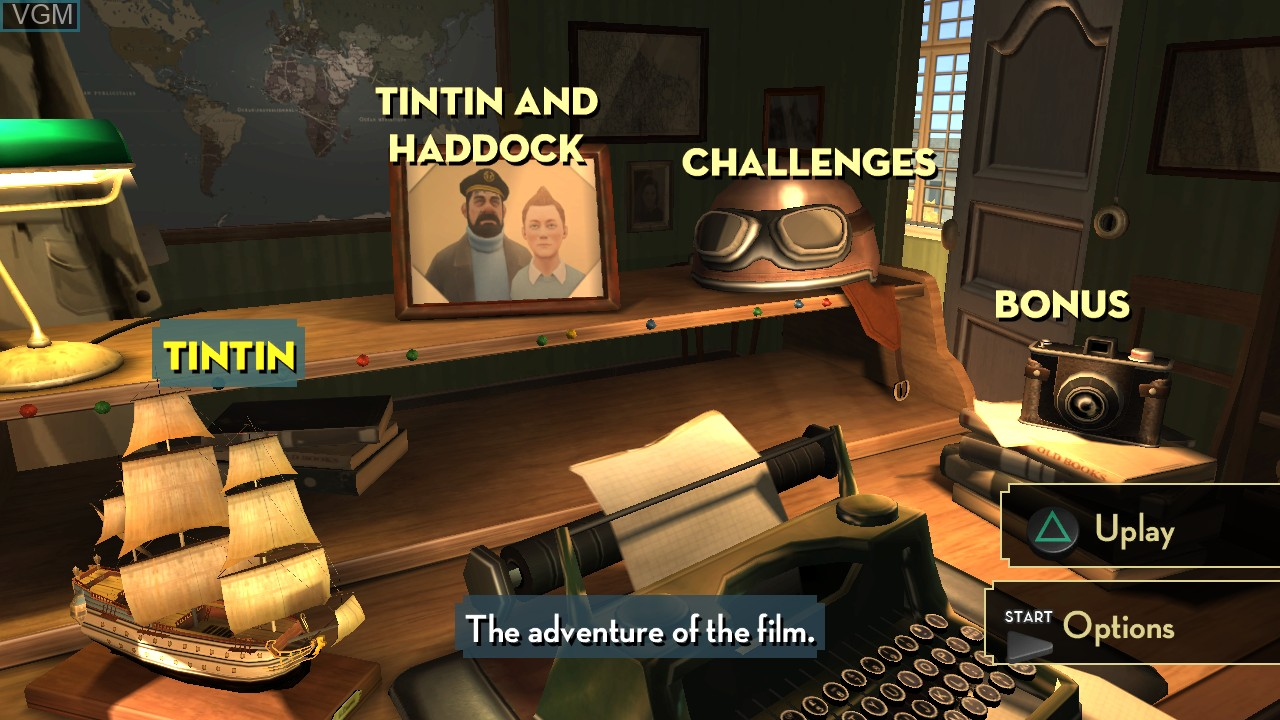 Menu screen of the game Adventures of Tintin, The - The Secret of the Unicorn on Sony Playstation 3