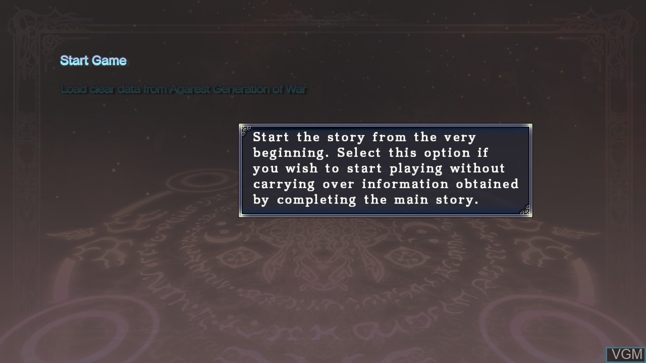 Menu screen of the game Agarest - Generations of War Zero on Sony Playstation 3