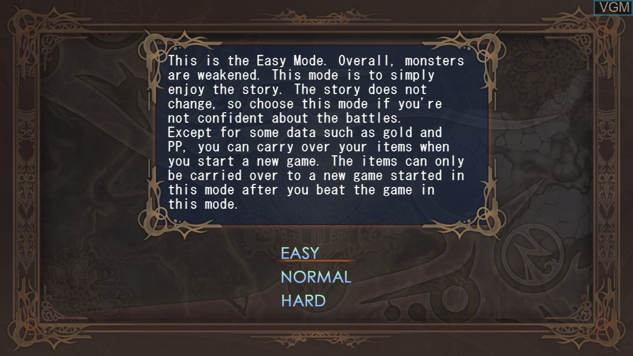 Menu screen of the game Agarest - Generations of War on Sony Playstation 3