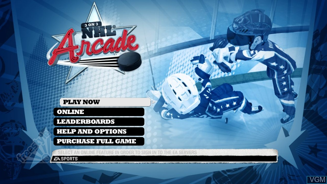 Menu screen of the game 3 on 3 NHL Arcade on Sony Playstation 3