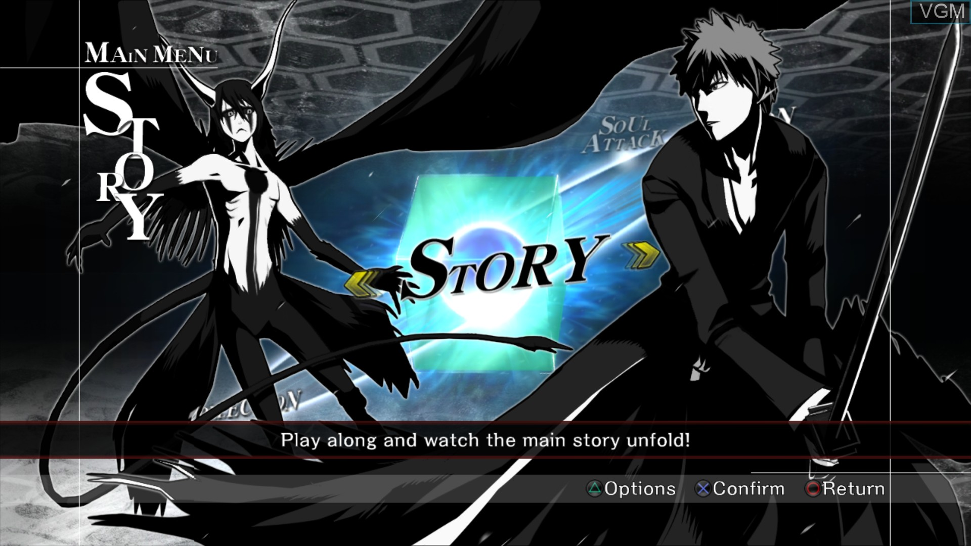 Menu screen of the game Bleach - Soul Resurreccion on Sony Playstation 3