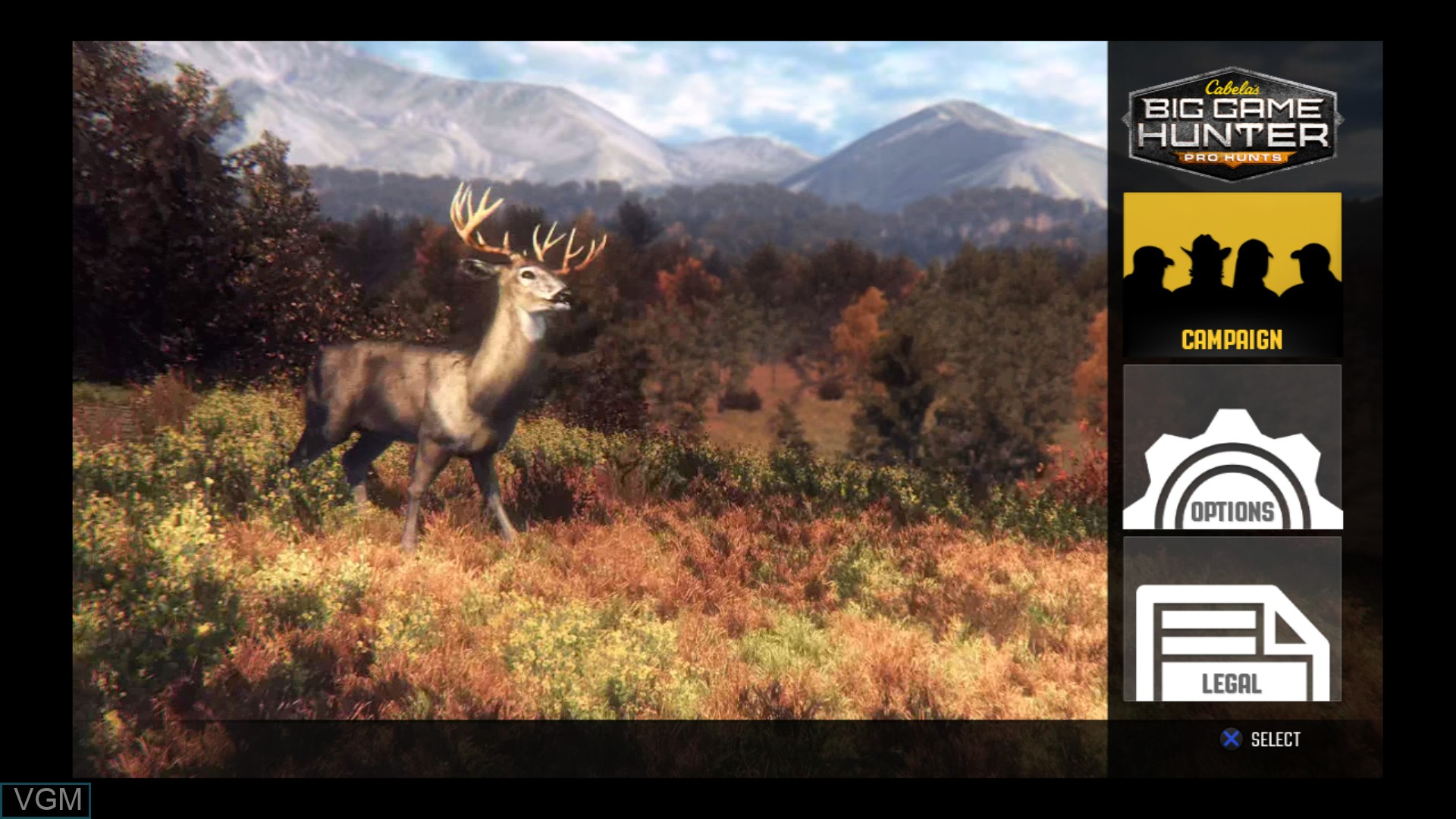 Menu screen of the game Cabela's Big Game Hunter - Pro Hunts on Sony Playstation 3