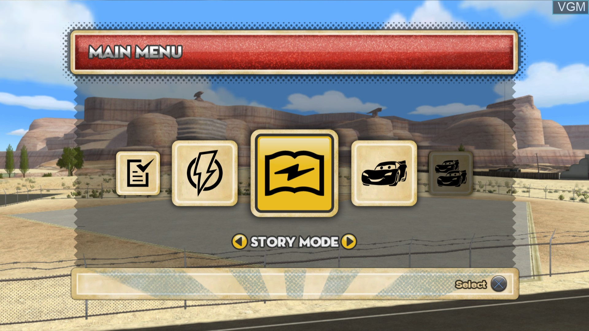 Menu screen of the game Cars Mater-National Championship on Sony Playstation 3