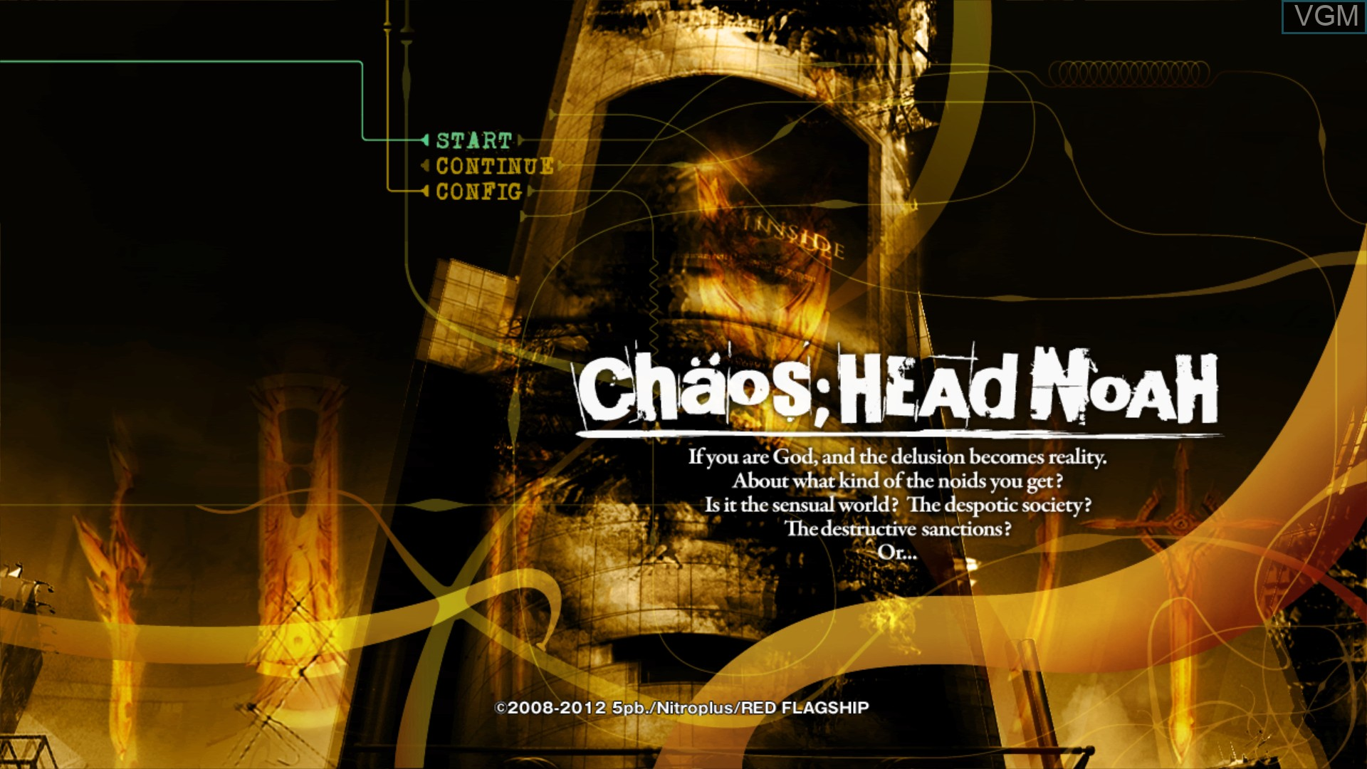 Menu screen of the game Chaos;Head Noah on Sony Playstation 3