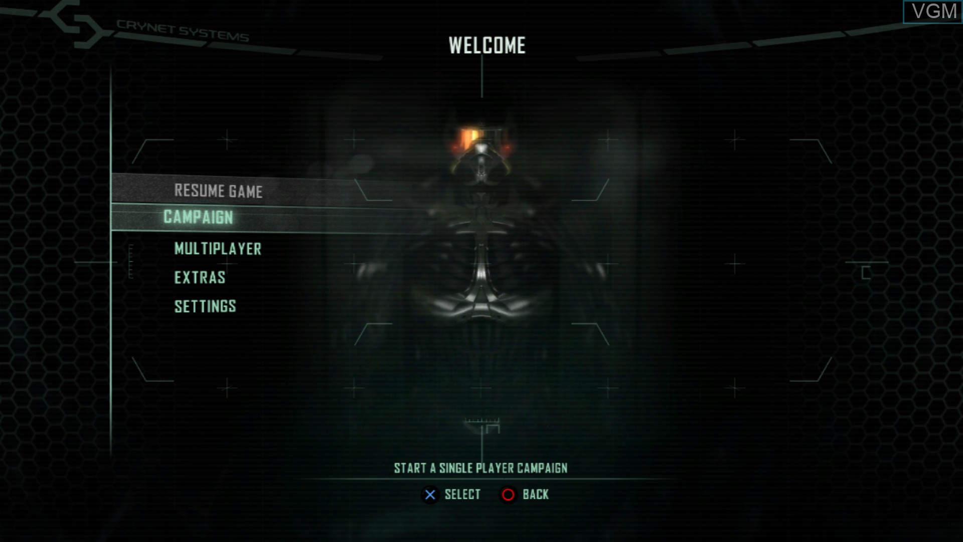 Menu screen of the game Crysis 2 on Sony Playstation 3