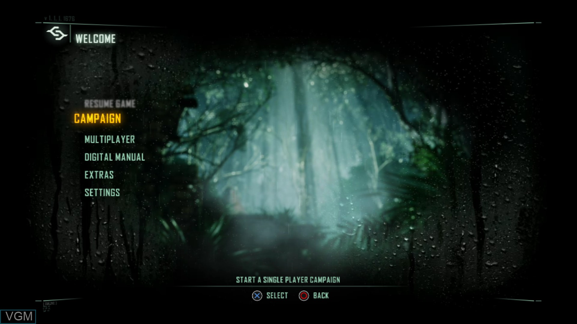 Menu screen of the game Crysis 3 on Sony Playstation 3