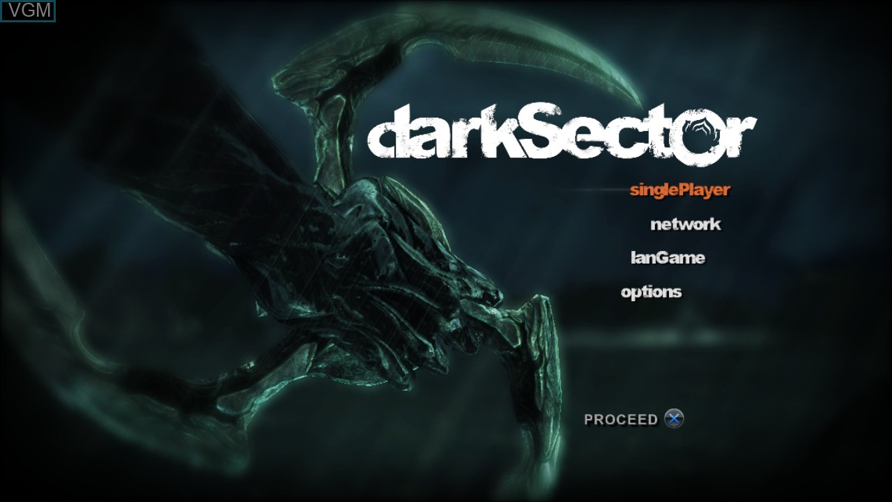 Menu screen of the game Dark Sector on Sony Playstation 3