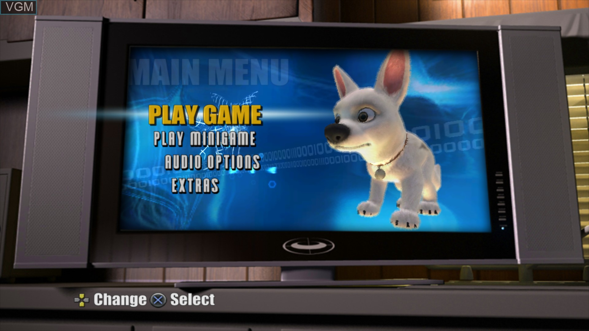 Menu screen of the game Bolt on Sony Playstation 3