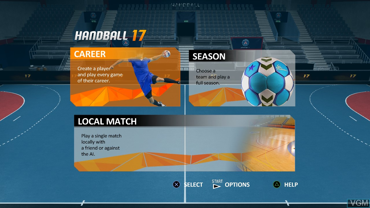 Menu screen of the game Handball 17 on Sony Playstation 3