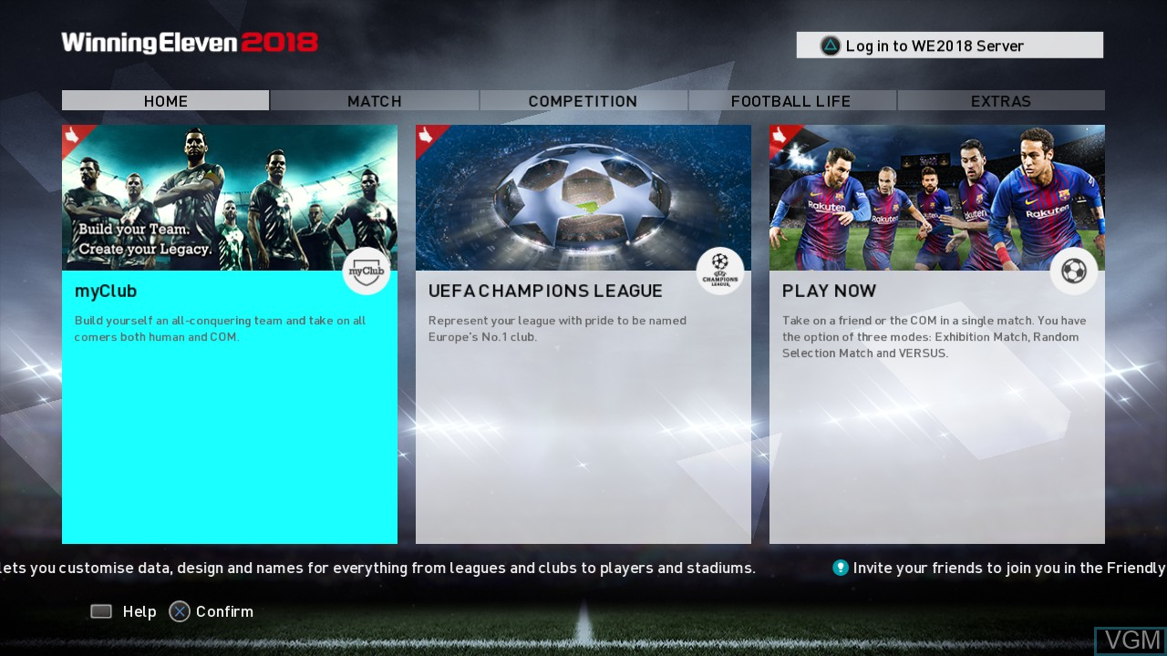 Menu screen of the game Winning Eleven 2018 on Sony Playstation 3