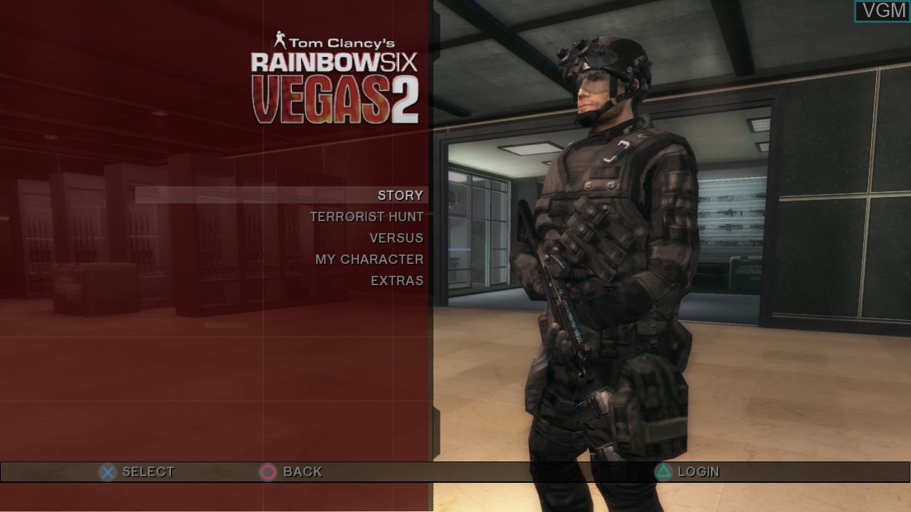 Menu screen of the game Tom Clancy's Rainbow Six Vegas 2 on Sony Playstation 3
