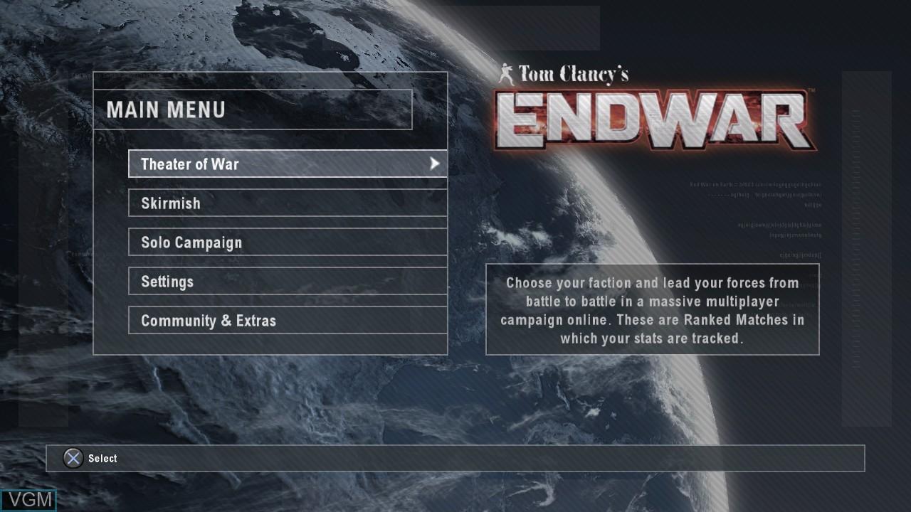 Menu screen of the game Tom Clancy's EndWar on Sony Playstation 3