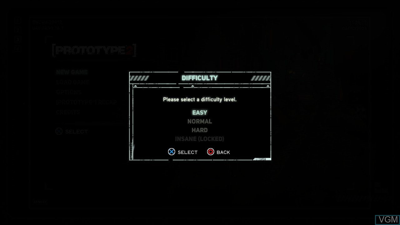 Menu screen of the game Prototype 2 on Sony Playstation 3