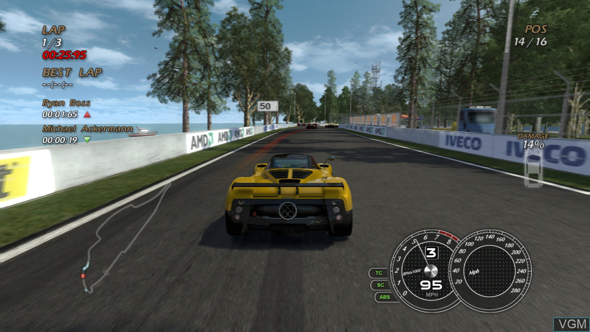 In-game screen of the game Absolute Supercars on Sony Playstation 3