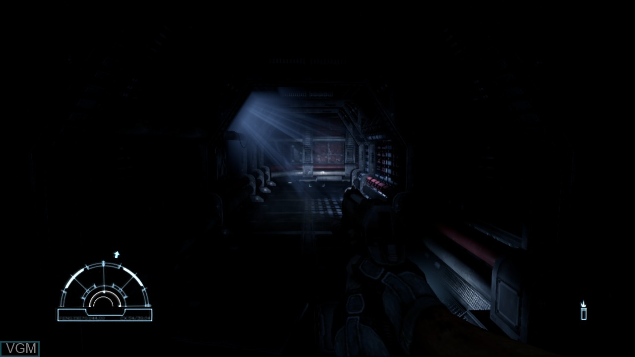 In-game screen of the game Aliens vs. Predator on Sony Playstation 3