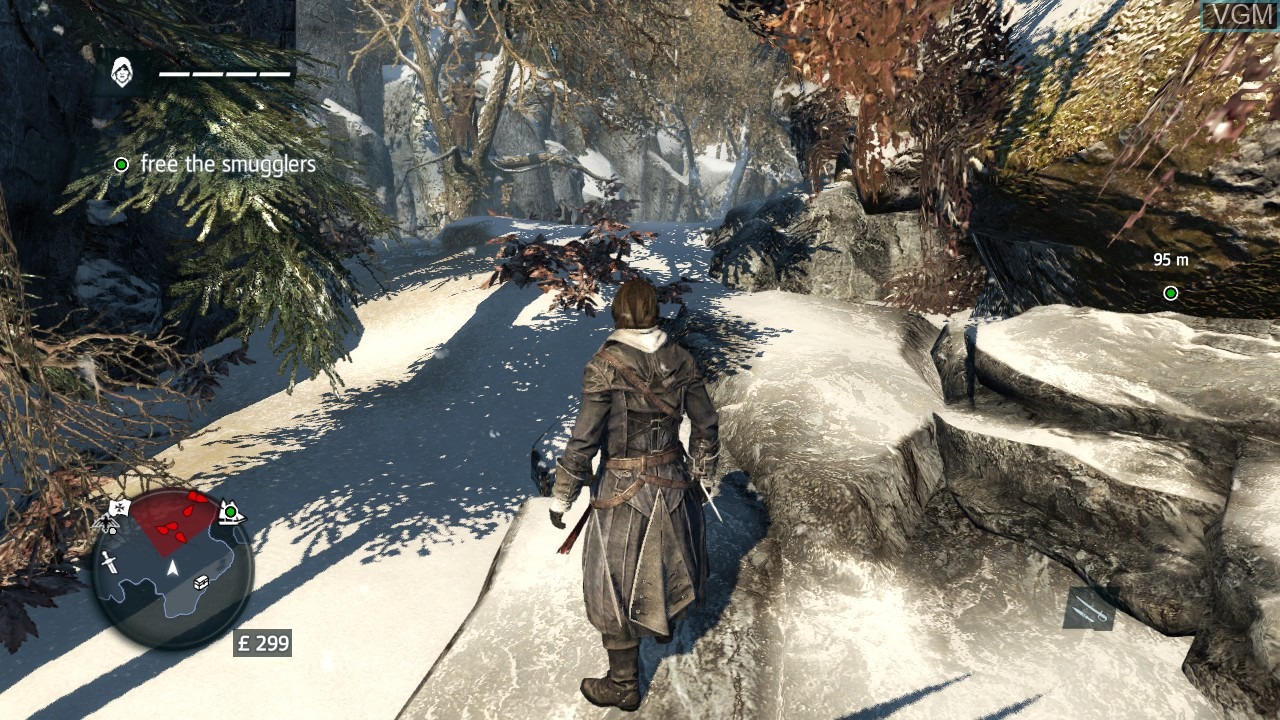 In-game screen of the game Assassin's Creed Rogue on Sony Playstation 3