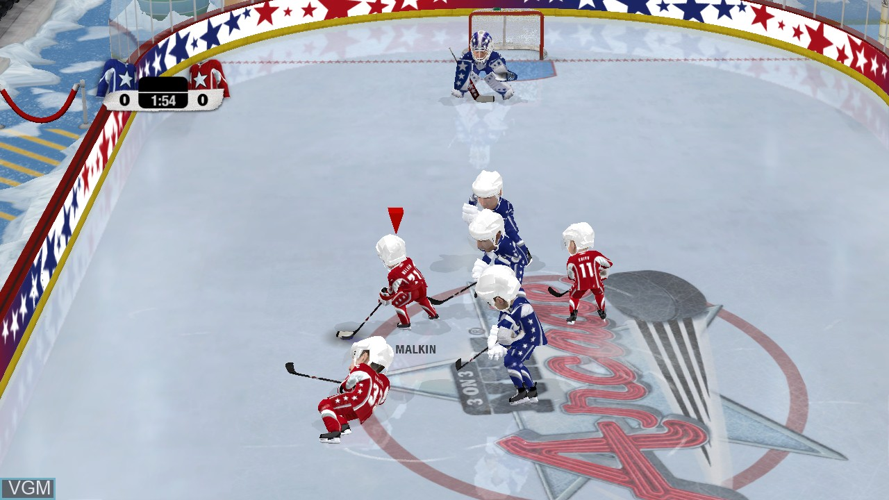 In-game screen of the game 3 on 3 NHL Arcade on Sony Playstation 3