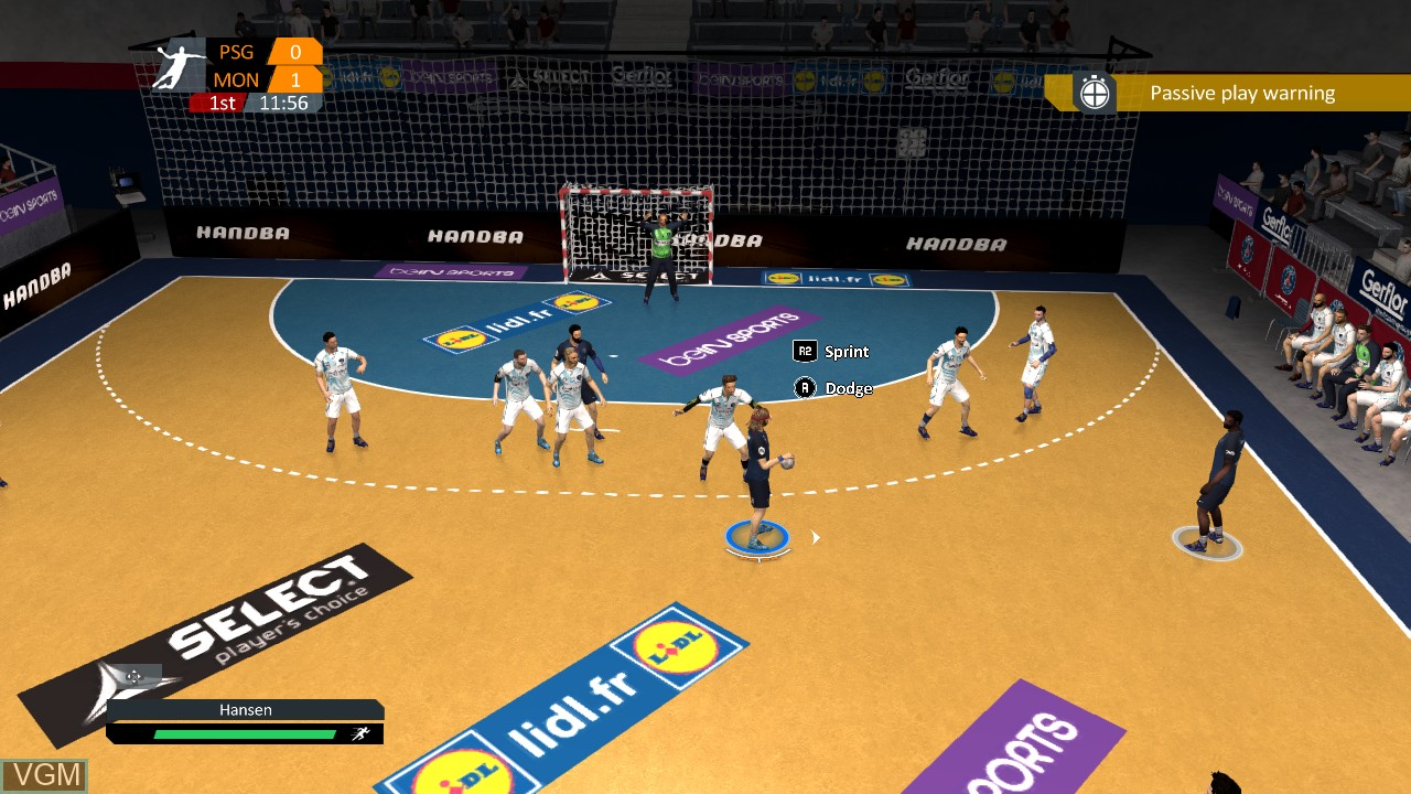 In-game screen of the game Handball 17 on Sony Playstation 3