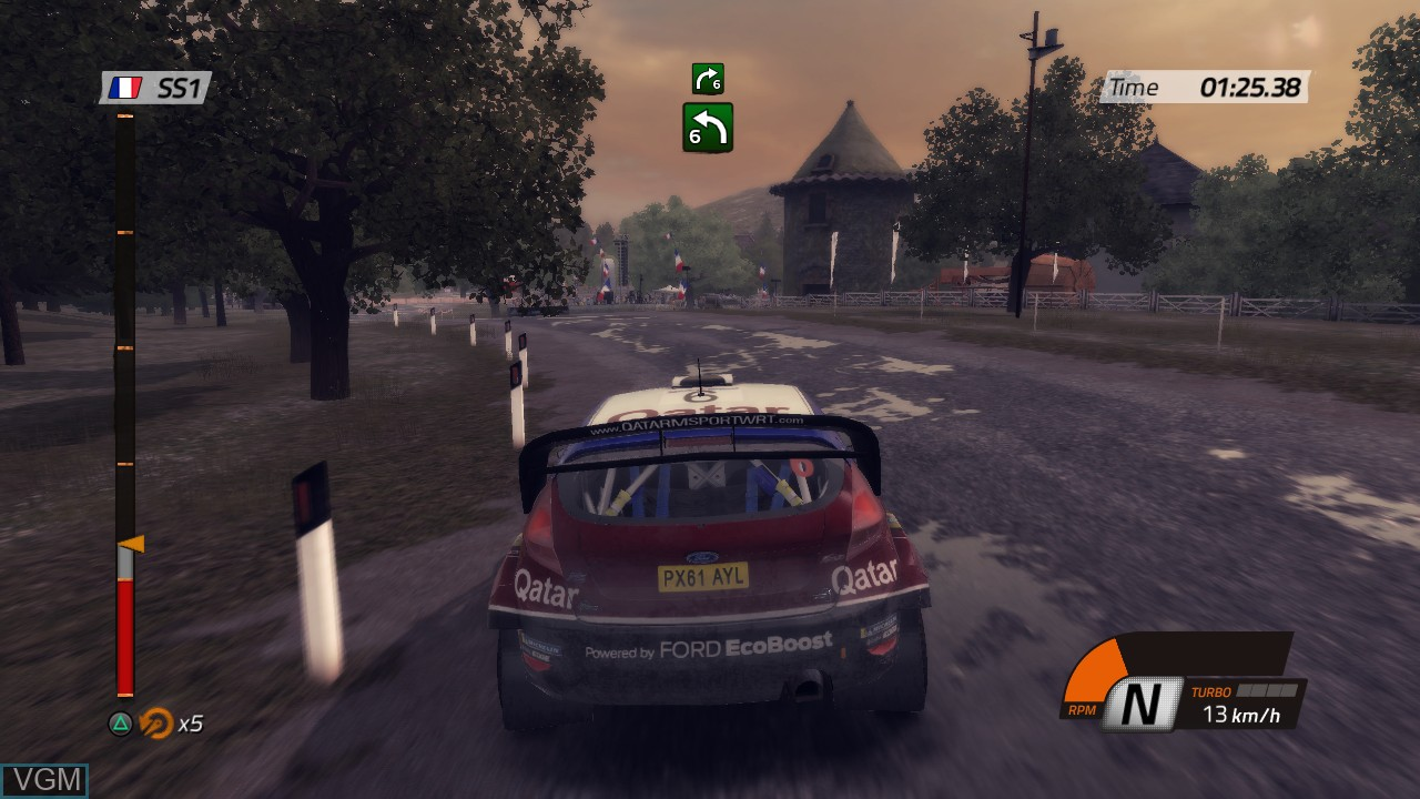 In-game screen of the game WRC 4 - FIA World Rally Championship on Sony Playstation 3