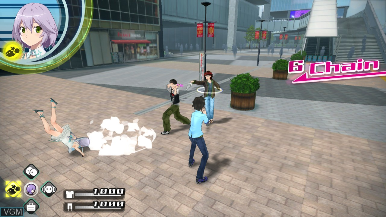 In-game screen of the game Akiba's Trip - Undead & Undressed on Sony Playstation 3