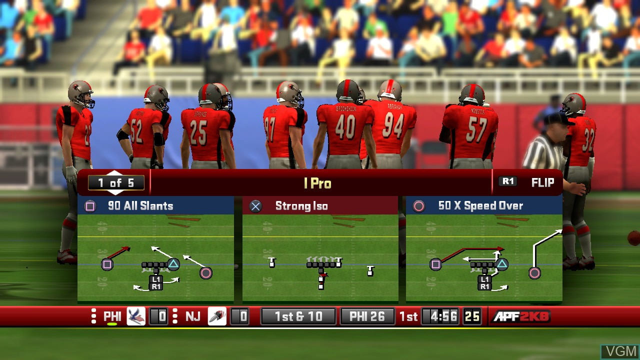 In-game screen of the game All-Pro Football 2K8 on Sony Playstation 3