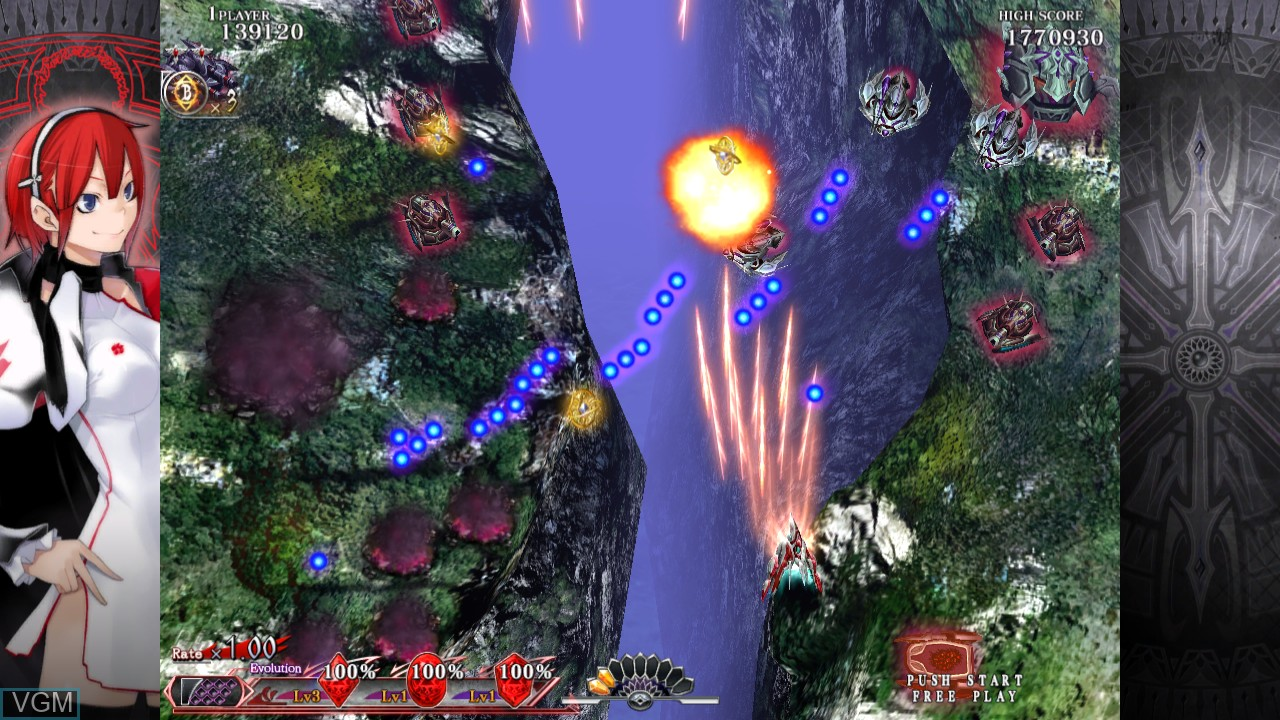 In-game screen of the game Caladrius Blaze on Sony Playstation 3