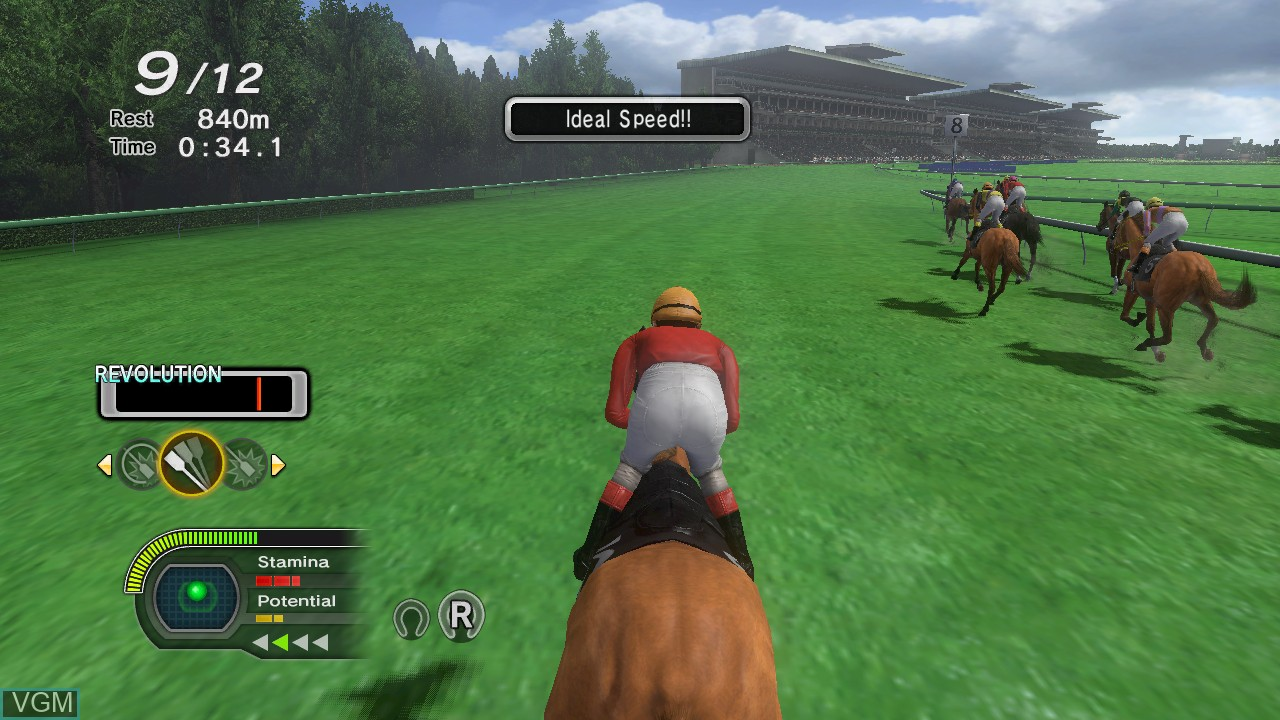 In-game screen of the game Champion Jockey - G1 Jockey & Gallop Racer on Sony Playstation 3