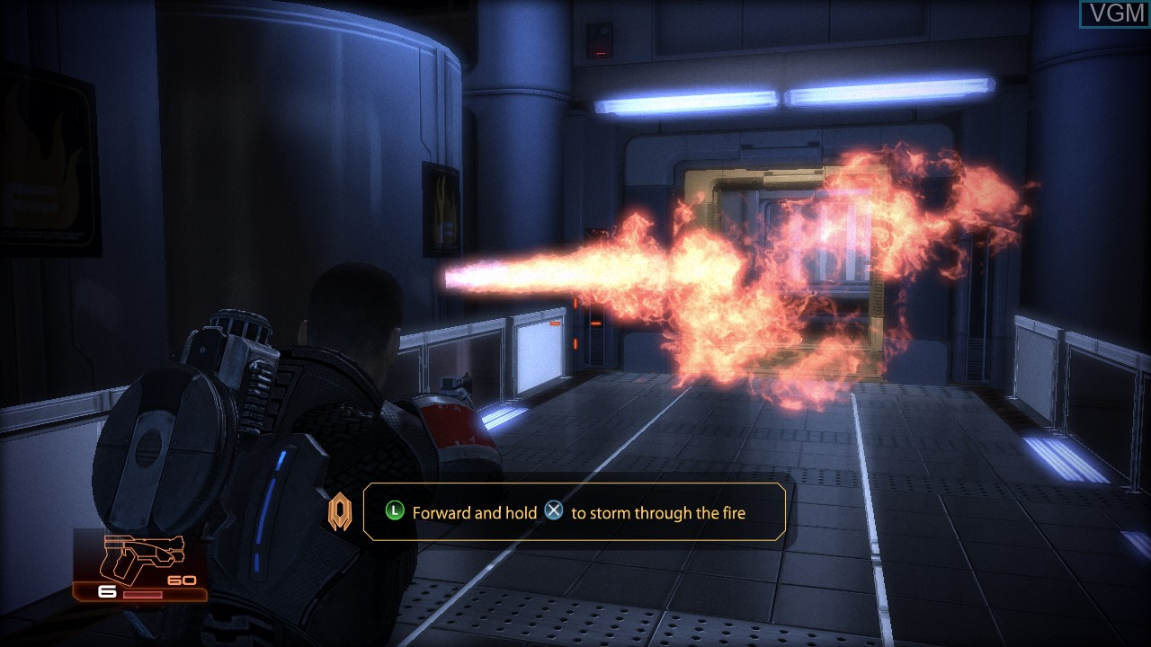 In-game screen of the game Mass Effect 2 on Sony Playstation 3