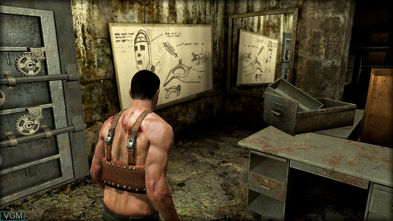 In-game screen of the game Saw II - Flesh & Blood on Sony Playstation 3
