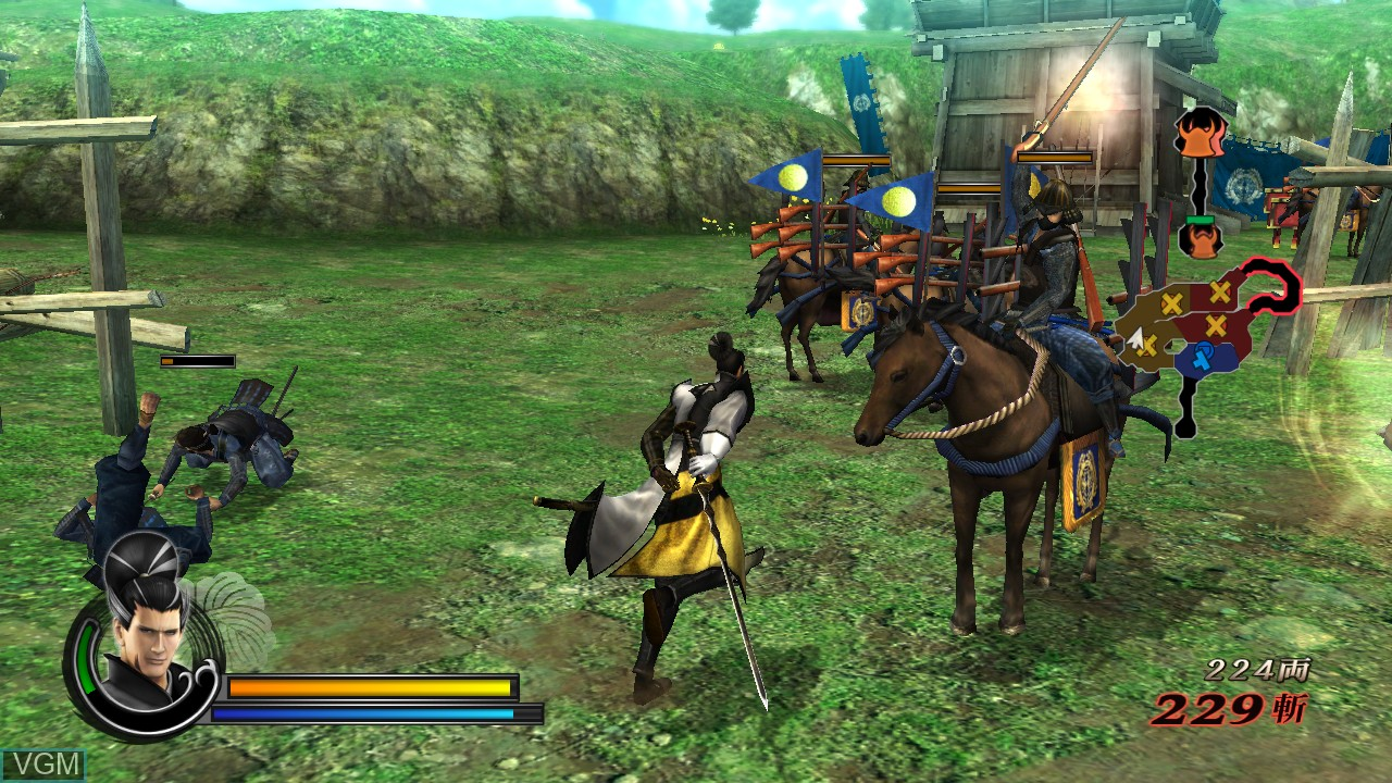 In-game screen of the game Sengoku Basara 3 Utage on Sony Playstation 3