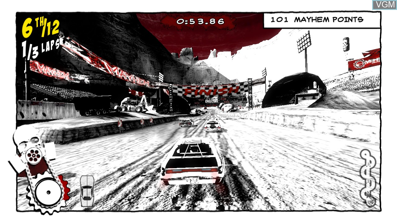 In-game screen of the game Mayhem 3D on Sony Playstation 3