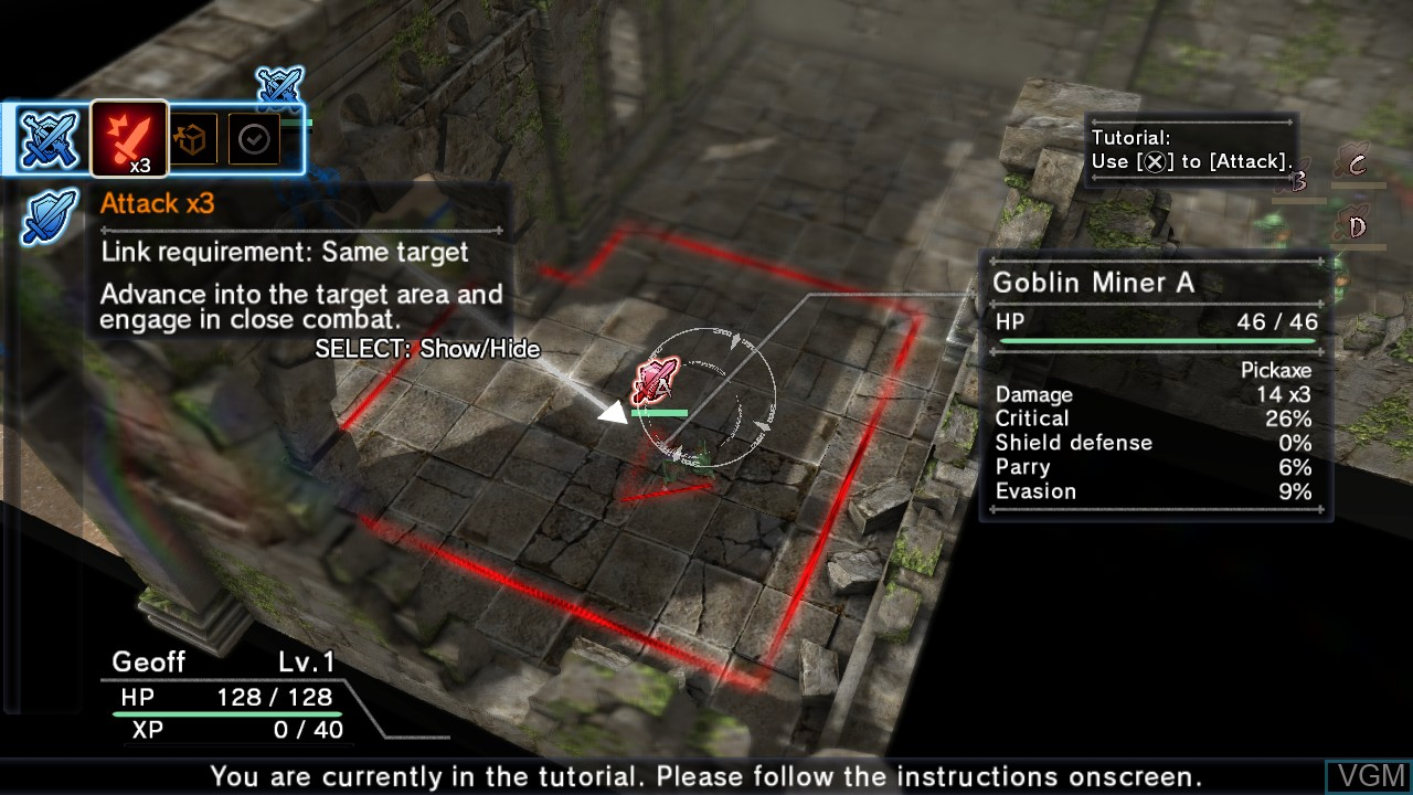 In-game screen of the game Natural Doctrine on Sony Playstation 3