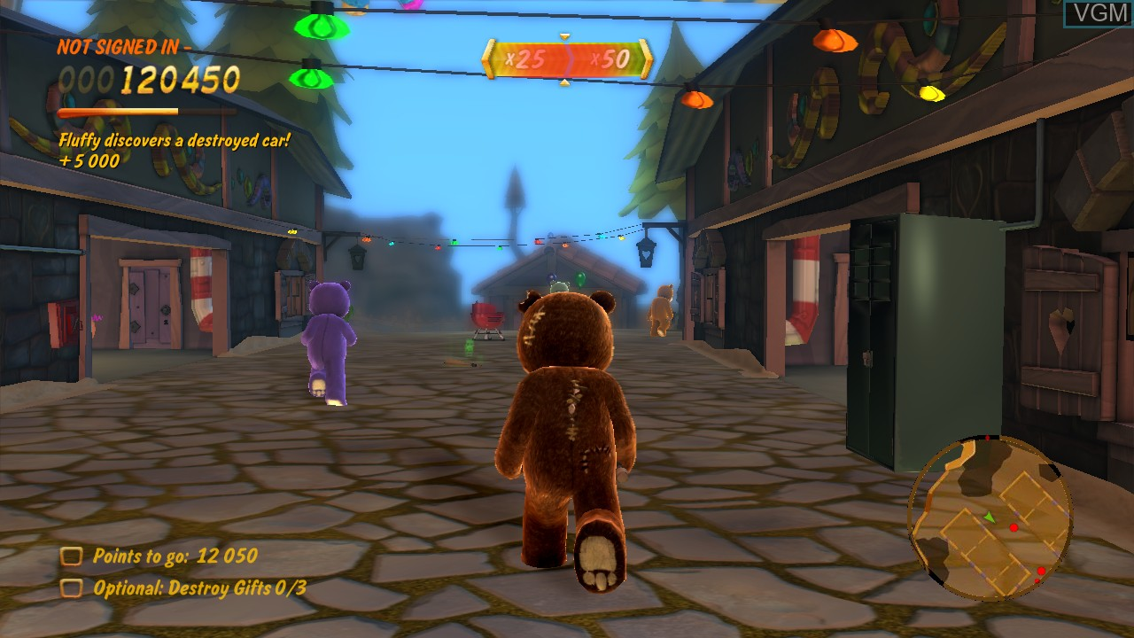 In-game screen of the game Naughty Bear on Sony Playstation 3