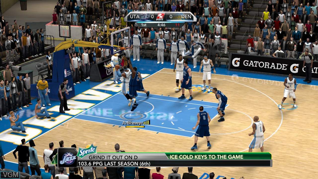 In-game screen of the game NBA 2K10 on Sony Playstation 3