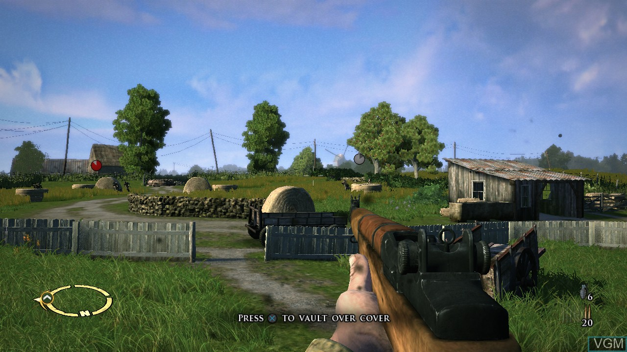 In-game screen of the game Brothers in Arms - Hell's Highway on Sony Playstation 3
