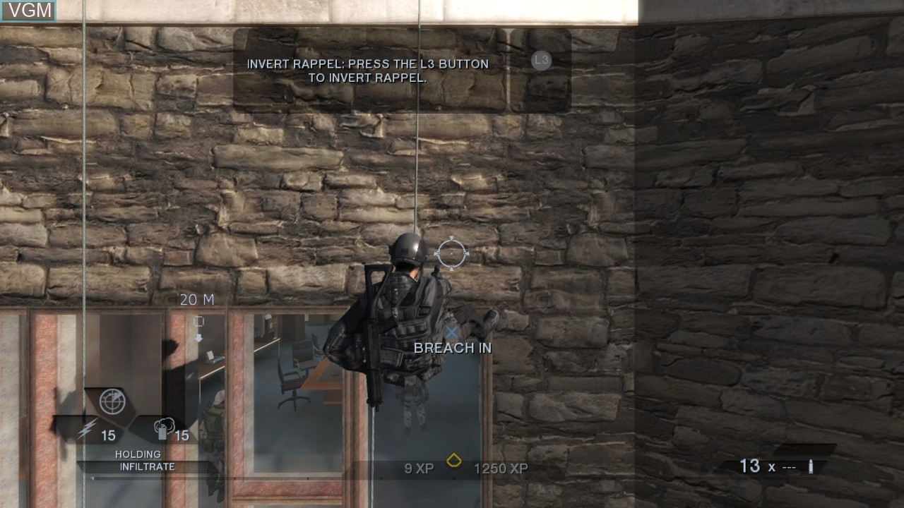 In-game screen of the game Tom Clancy's Rainbow Six Vegas 2 on Sony Playstation 3