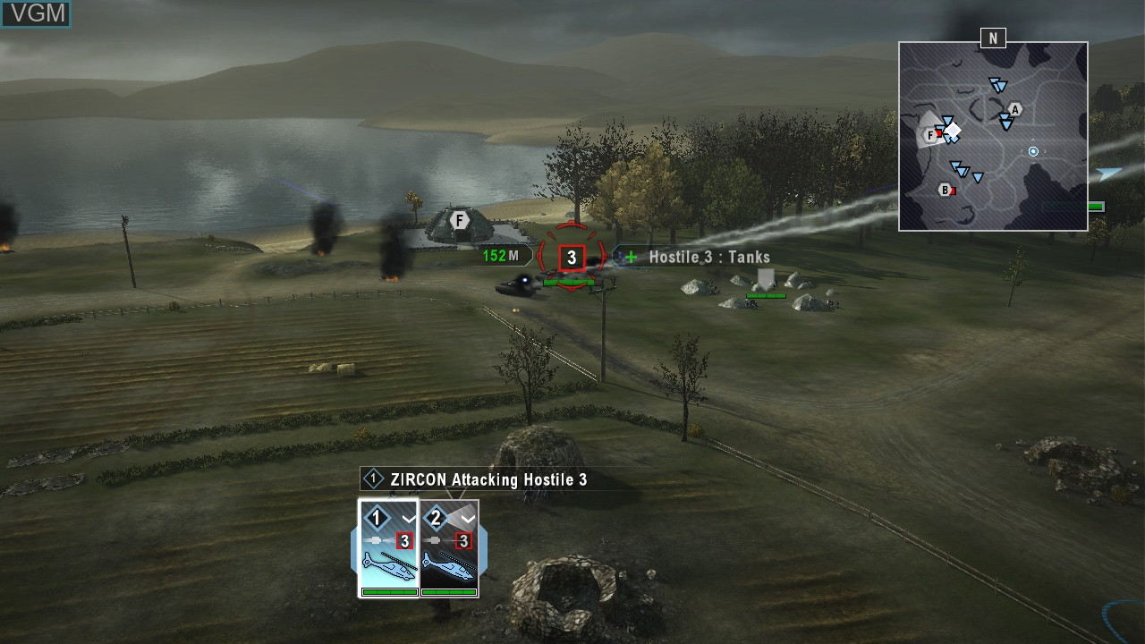 In-game screen of the game Tom Clancy's EndWar on Sony Playstation 3