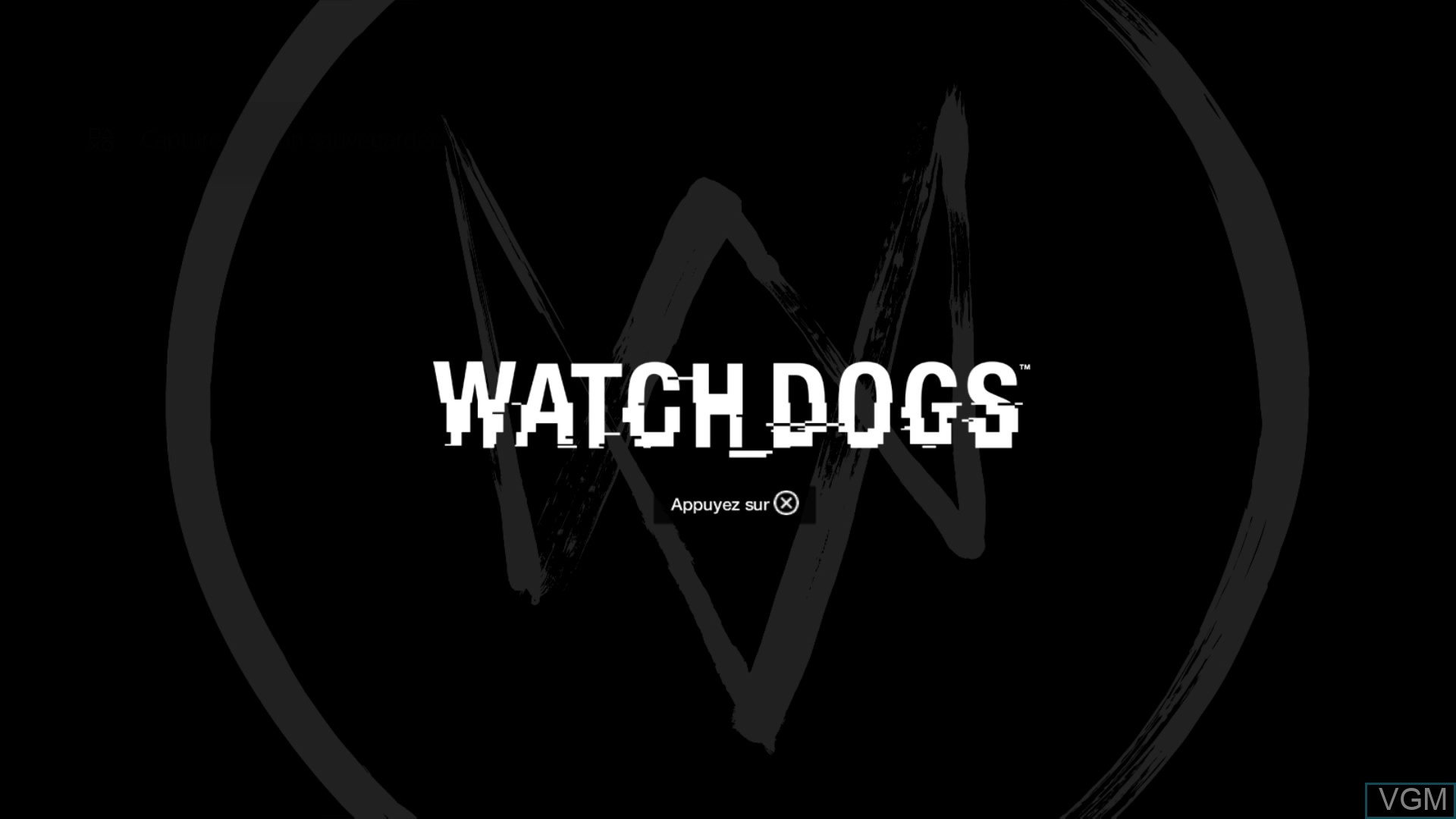 Title screen of the game Watch Dogs on Sony Playstation 4