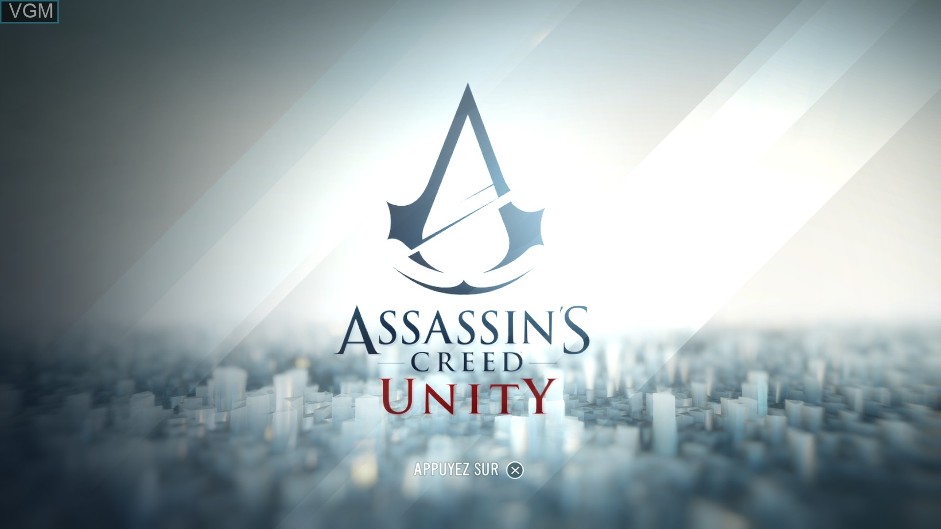 Title screen of the game Assassin's Creed Unity on Sony Playstation 4