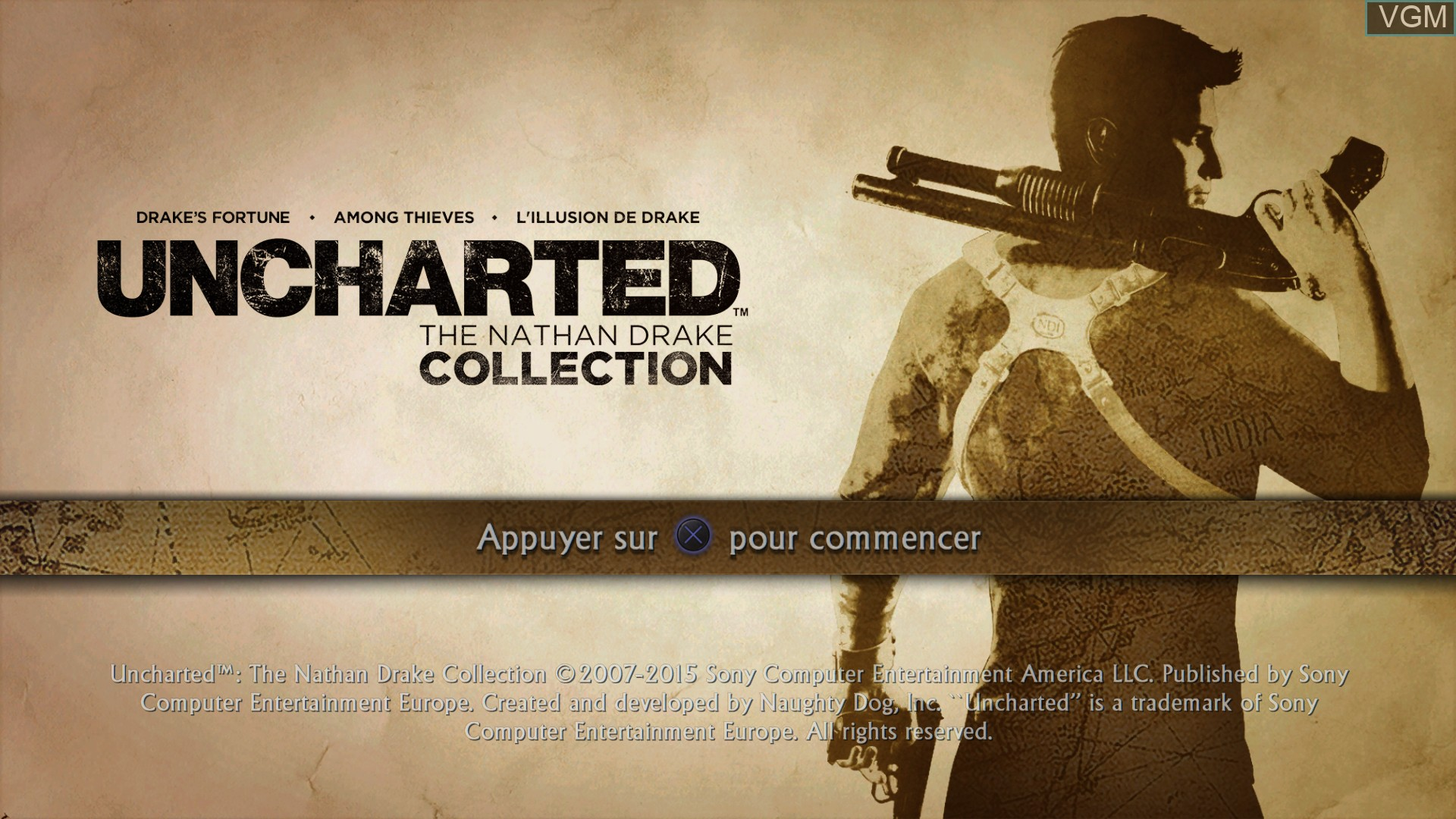 Title screen of the game Uncharted - The Nathan Drake Collection on Sony Playstation 4