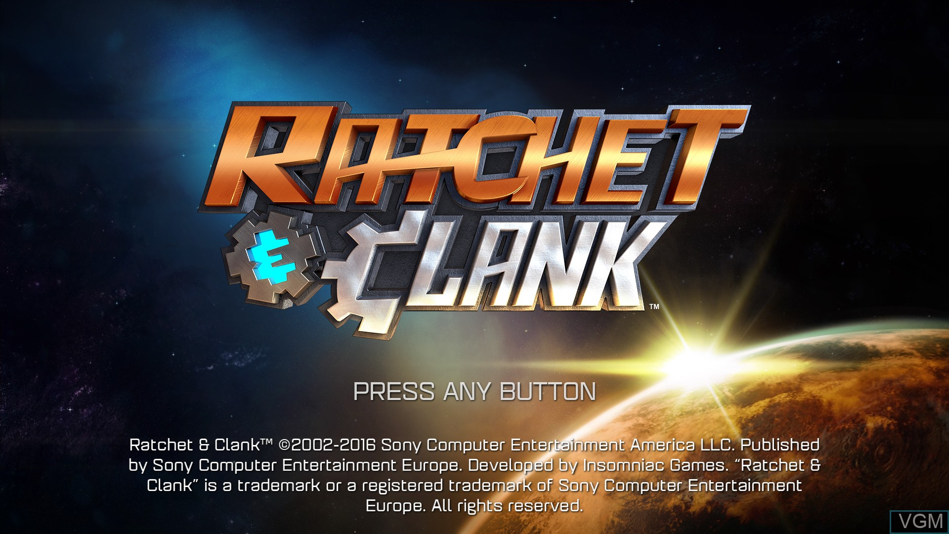 Title screen of the game Ratchet & Clank on Sony Playstation 4