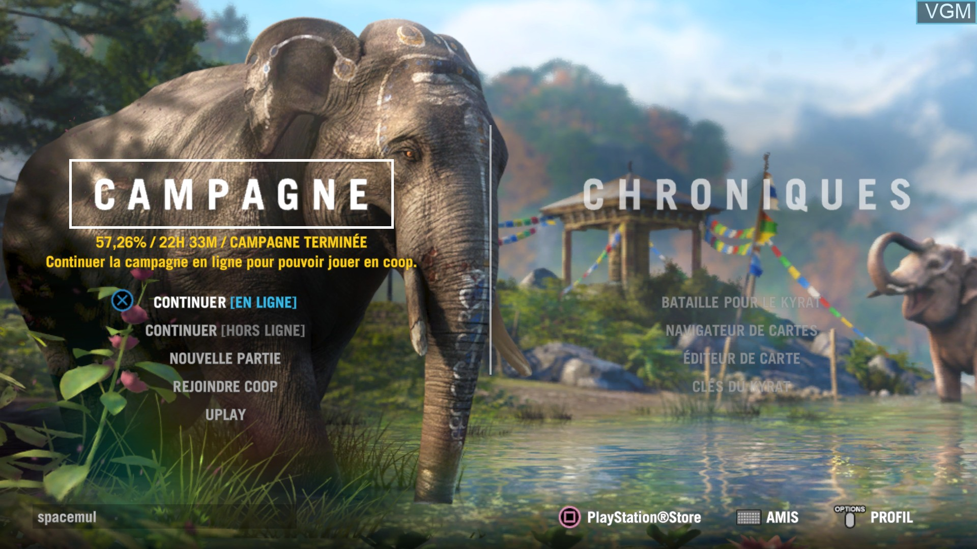 Menu screen of the game Far Cry 4 on Sony Playstation 4