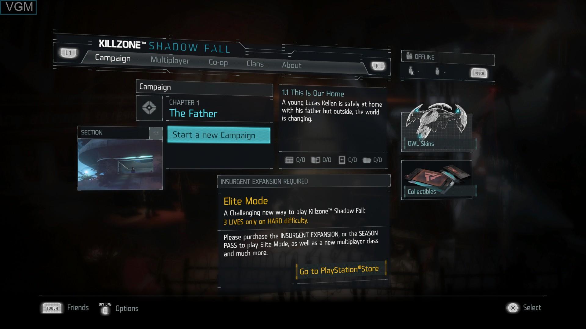 Menu screen of the game Killzone - Shadow Fall on Sony Playstation 4